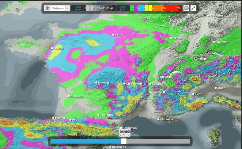 Prévisions de cumul de neige en plaine