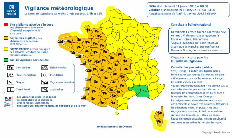 Carte vigilance météo france du 1er janvier 2018