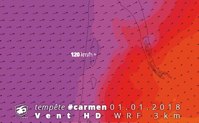 prévisions de vent Gironde médoc WRF 3km