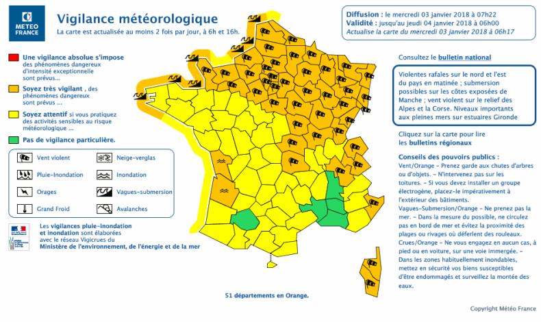 Carte vigilance météo france tempête Eleanor