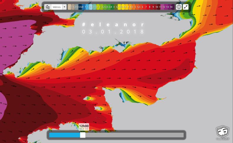 prévisions de houle HD Manche tempête Eleanor