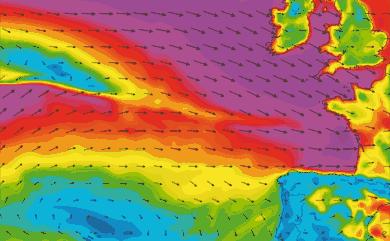 Prévisions vent atmosphériques Atlantique Ouest Europe