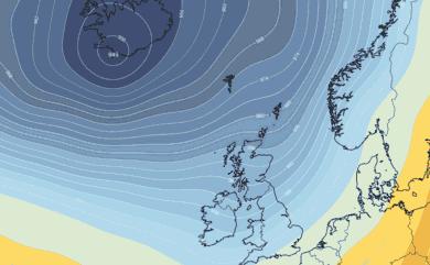 Prévisions pressions atmosphériques Islande Atlantique Nord