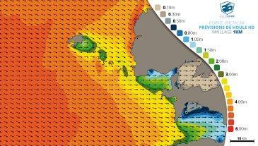 carte de prévisions de houle HD 1km maillage fin